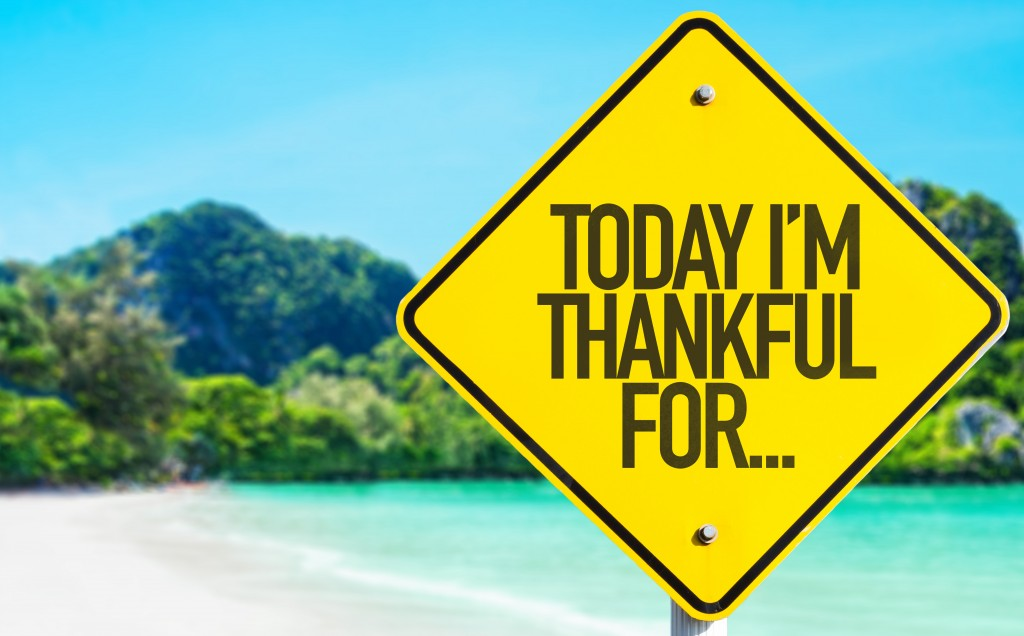 Today Im Thankful For... sign with beach background